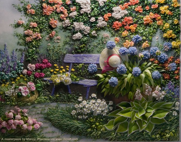 Blue Bench in a Rose Garden stitched by Marina Zherdeva