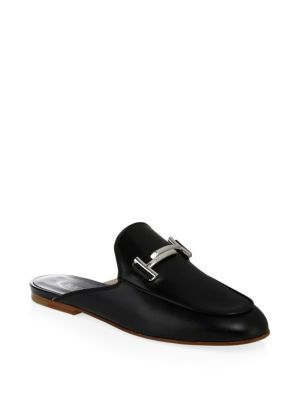 TOD'S | Double T Black Leather Mules #Shoes #TOD'S
