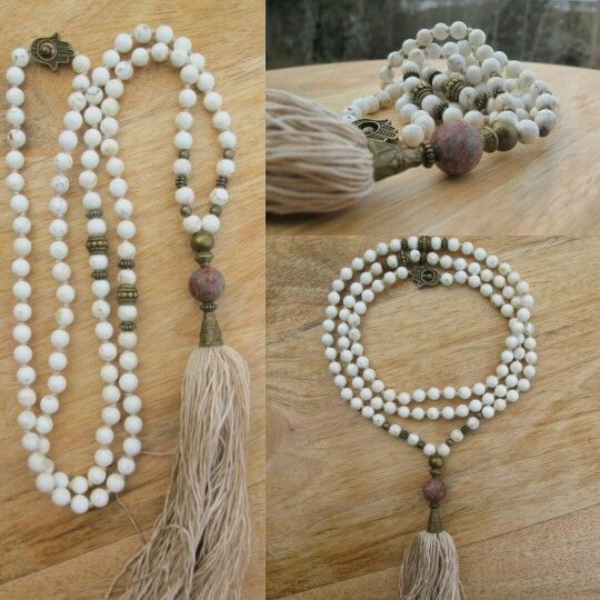 White Turquoise with beige tassel. Malabead necklace.