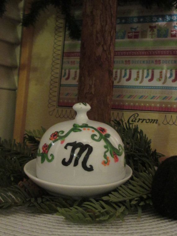 Hand Painted Dome Style Ceramic Jewelery Box by OurBurrowDesign, $18.00