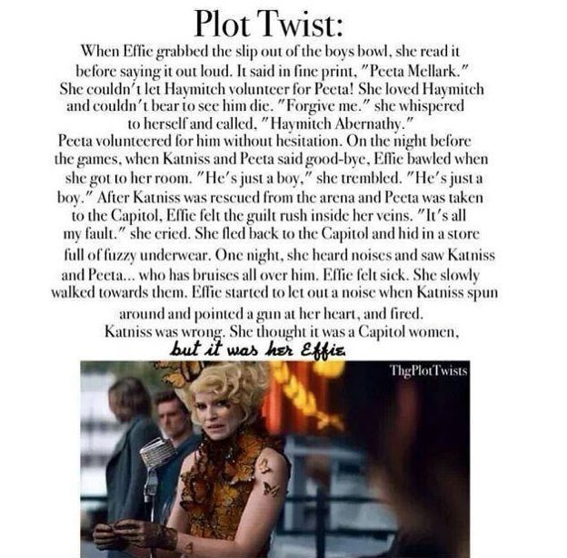The Hunger Games Plot Twist WELL EFFIE DESERVED THAT!!FOR CALLING HAYMITCH'S NAME AND HAVING PEETA GO TO THE ARENA!!