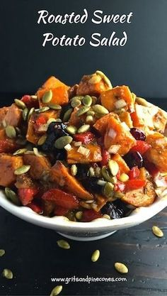 Roasted Sweet Potato Salad is a unique, colorful, healthy and best of all delicious alternative to mayonnaise-based potato salad for your Thanksgiving or holiday dinners! via @gritspinecones #thanksgivingrecipes, #thanksgivingfood, #thanksgivingdinner, #vegetarianrecipes, #veganrecipes, #thanksgivingsides, #sweetpotatorecipes, #potatosaladrecipes, #christmasrecipes
