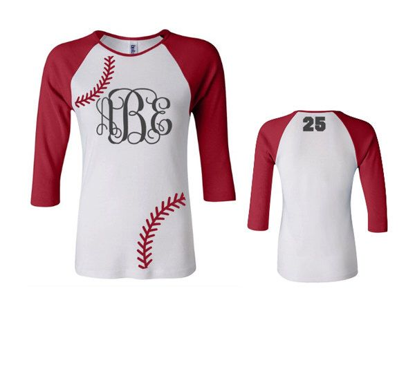 Monogram Baseball Shirt, Monogram Softball Shirt, Raglan Baseball Shirt, 3/4 sleeve by VinylDezignz on Etsy https://www.etsy.com/listing/219990908/monogram-baseball-shirt-monogram