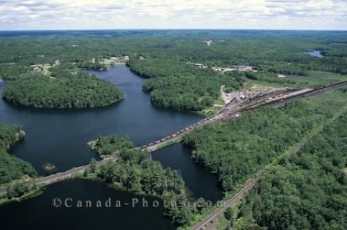 Aerial of the trains, road and 30000 Islands in Parry Sound in Georgian Bay, Lake Huron in Ontario, Canada.