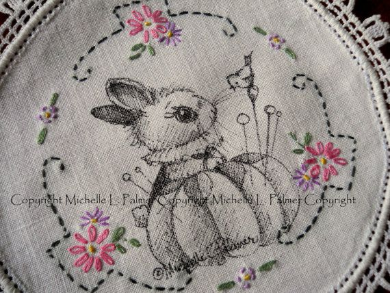Original Pen and Ink Illustration on Antique Vintage Embroidery Linen Michelle Palmer Bunny Rabbit Sparrow Sewing Theme August 2015