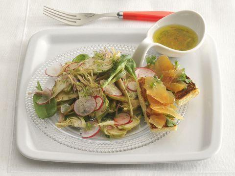 carciofi-e-spinacini-con-crostini-alla-bottarga