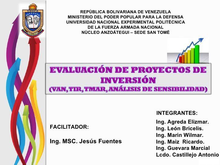 Calculo del VAN y el TIR by Elizmar Agreda via slideshare
