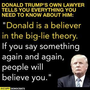 Humorous quotes, jokes and tweets skewering Republican presidential candidate Donald Trump from Louis CK, Andy Borowitz, Bill Maher, Stephen King, and others.: Donald Trump and the Big Lie Theory