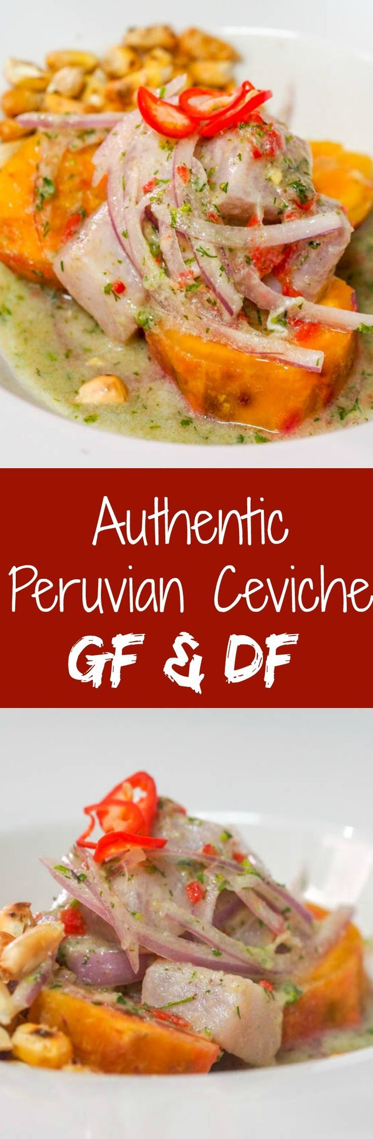 Learn how to make authentic Peruvian ceviche. It's simple but has some tricks and insider tips -- including an explanation of leche de tigre - also known as tigers milk (nothing to do with tigers, trust me). Gluten Free + Dairy Free. Perfect no cook summer recipe ready in MINUTES! Doesn't get better than fresh fish marinated in lime juice! | http://avocadopesto.com