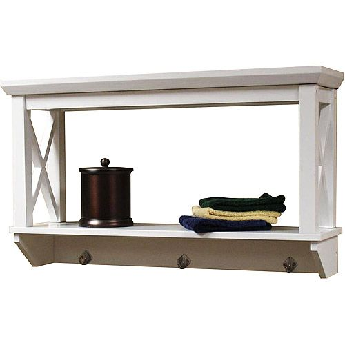 Riverridge X Frame Wall Shelf With Hooks White Bathroom Wall Shelves Shelves And Walls