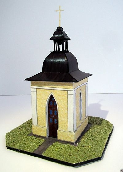 A Chapel in Nové Dvory Free Building Paper Model Download - http://www.papercraftsquare.com/a-chapel-in-nove-dvory-free-building-paper-model-download.html#1100, #BuildingPaperModel, #Chapel
