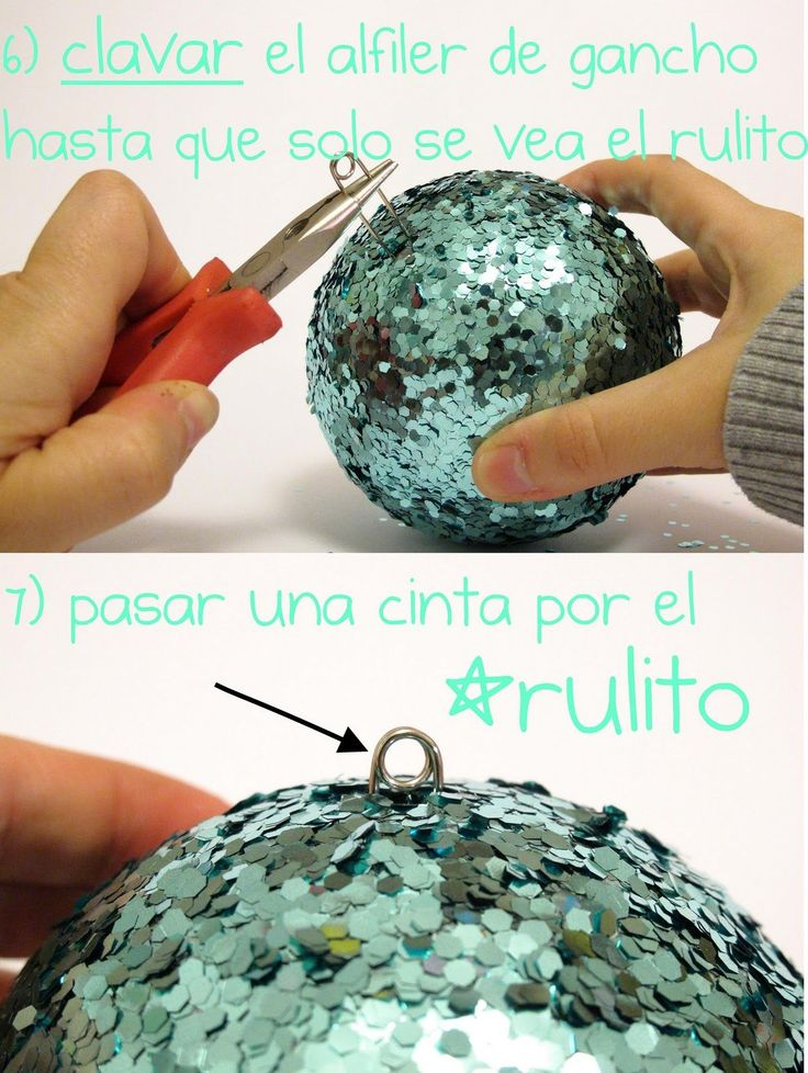 Use wire cutters to cut the end off a safety pin to use as an ornament hook on styrofoam sequined ornaments..