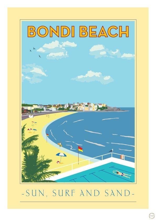 Vintage Poster -  Bondi Beach Australia - Travel