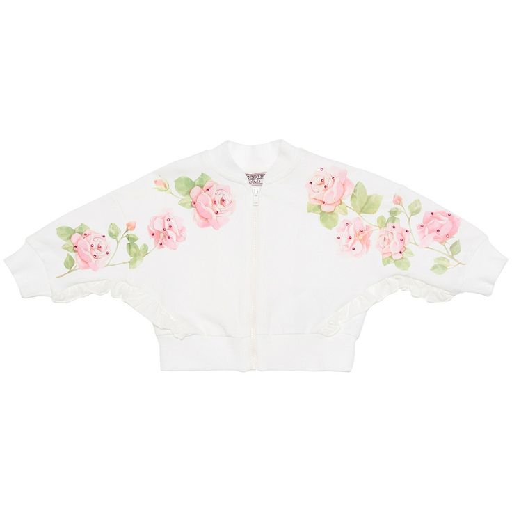 Open jersey sweatshirt with roses