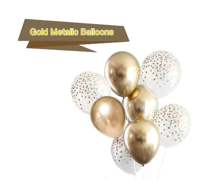 Gold Chrome Balloons Cluster - Gold Balloons Bouquet, Create Your Own Helium Bouquet, Gold Confetti Printed Balloons, Gold Party Balloons