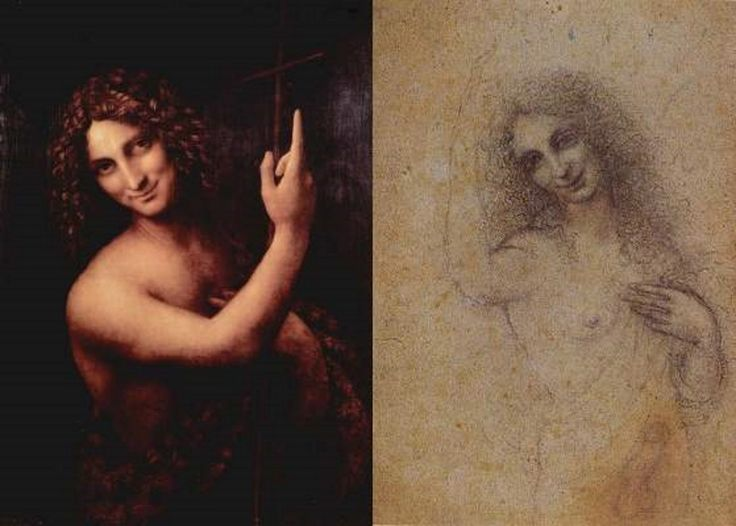 In the book Mona Lisa - Image of God, John the Baptist is considered to be an Earthly version of Jesus Christ, who is the Heavenly version of John the Baptist. This suggestion also explains, why Leonardo da Vinci made his last efforts to describe John the Baptist in two different paintings. Leonardo also draw a sketch of nude John the Baptist.