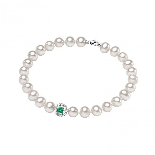 https://www.facebook.com/AlfioLagoGioielli/  Bracciale in oro bianco e perle con diamanti e smeraldi #CometeGioielli _ Collezione Divina BRQ 126
