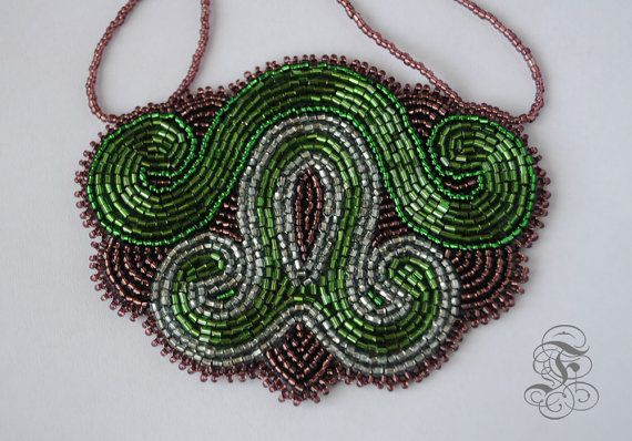 Bead Embroidery Necklace 'Spirit of the Woods' by Fantasmat on Etsy