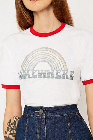 Urban Renewal Vintage Customised - T-shirt Somewhere à bords contrastants - Urban Outfitters