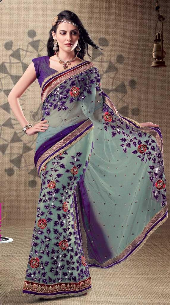 Purple and Net Faux Georgette Saree 19403 With Unstitched Blouse