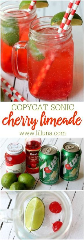 Delicious Copycat recipe for Sonic's Cherry Limeade Drinks via lil' luna - tastes just like it! Ingredients include 7-Up, cherries, a lime, and maraschino syrup! The BEST Easy Non-Alcoholic Drinks Recipes - Creative Mocktails and Family Friendly, Alcohol-Free, Big Batch Party Beverages for a Crowd!
