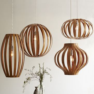 Bent Wood Pendant Round + 3-Wire Cord Set, CFL