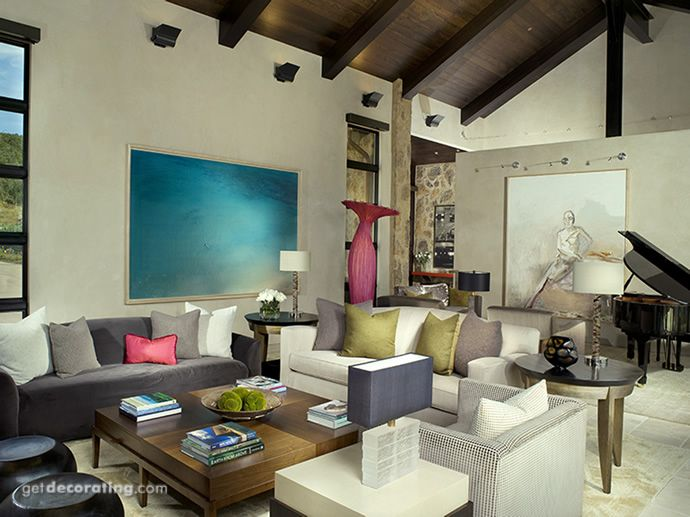 Decorative accents provide pops of color in this living room