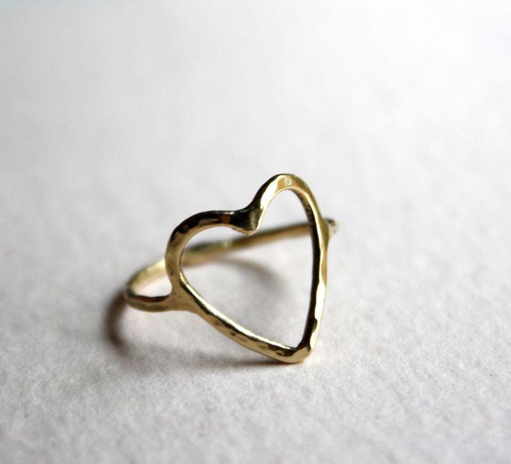 14k Gold Open Heart Ring: Heart Frame, Fingers Hair