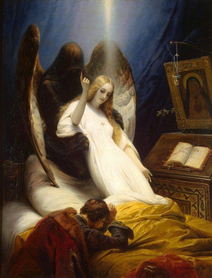 Верне, Орас - Ангел смерти.В иудаизме ангел смерти — это представитель Бога, которого посылает Бог, чтобы забрать жизнь или душу. Ангел смерти проходил мимо домов, на которых была кровь ягнёнка и щадил первенцев. Остальным принесена смерть, в результате чего их жизни были забраны. В Египте за одну ночь смерть постигла всех первенцев от скота до человека (Исход 12:29-32)[