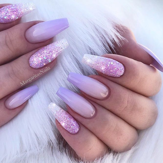 Glitter Lilac Nails Design #ombrenails #glitternails Are you a fan of a  lilac color? Explore cute things in lilac shades: from fashion to room  decor and ... - The Beauty Of The Lilac Color In The Real Life Nail Art