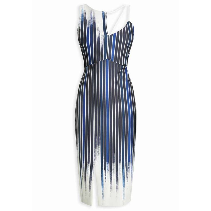 Your girls will feel super slim in this blue and white striped bodycon dress. The vertical stripes are a slimming effect and the leg slit at the front of the dress is sultry, yet elegant. We like the coll cut-out by the collar bone and the colours are just to die for. Having a beach wedding? If so, this has to be your bridesmaid's choice of attire.