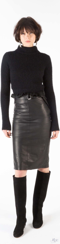 Fall 2017 RTW J Brand black sweater, black leather pencil midi skirt and tall black knee boots.