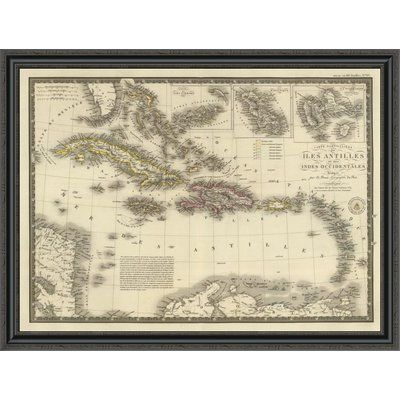 "East Urban Home 'Iles Antilles Ou Des Indes Occidentales; 1828' Framed Print Size: 33"" H x 44"" W x 1.5"" D"