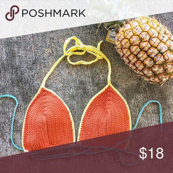 Crochet festival bikini top Sunny fun colors , crochet bikini top BOUGHT on Maui at a boutique! Works best when spunk wrap ties for support, in brand new condition!!! San Lorenzo Swim Bikinis