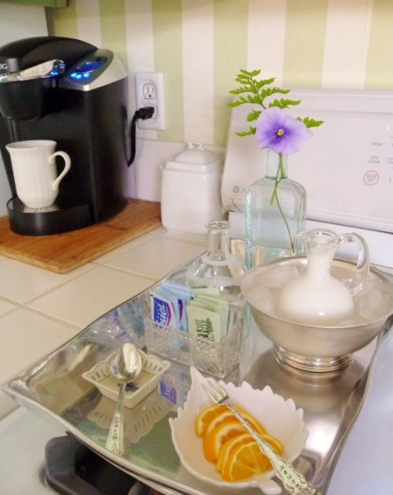 DIY Easy Coffee Station How to organize a coffee  station in a very small area for your guest