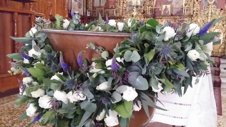 κολυμπήθρα στολισμος purple and white theme decoration for baptism font