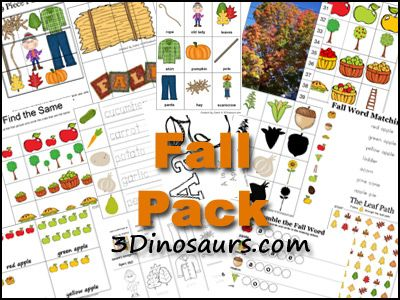 FREE Fall Pack from 3 Dinosaurs