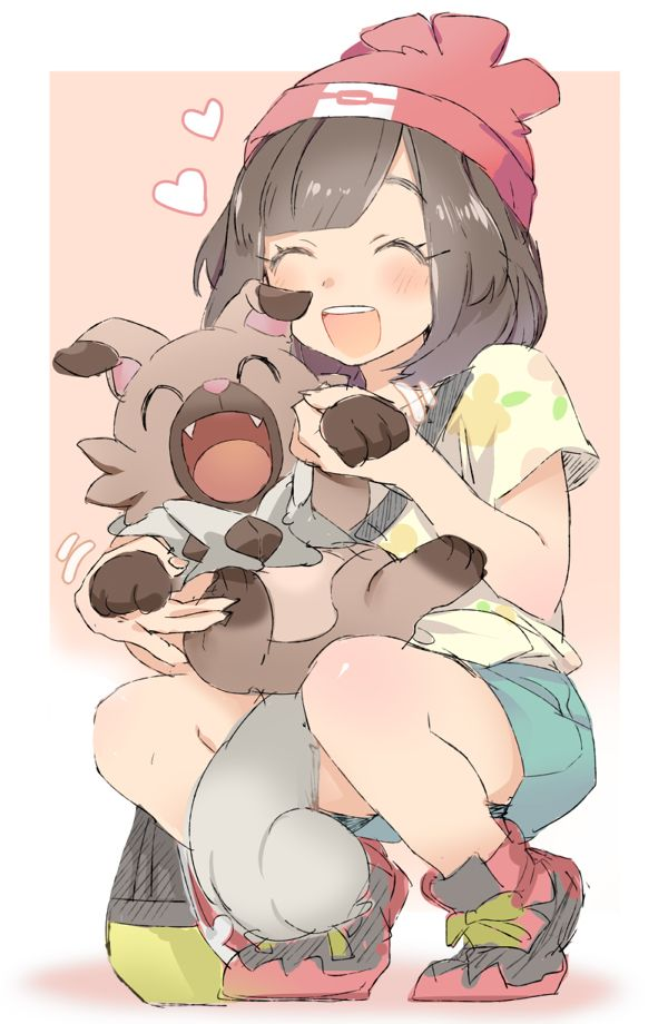 Pixiv Id 17895, Pokémon, Female Protagonist (Pokémon Sun/Moon), Rockruff, Crouching, Red Hat