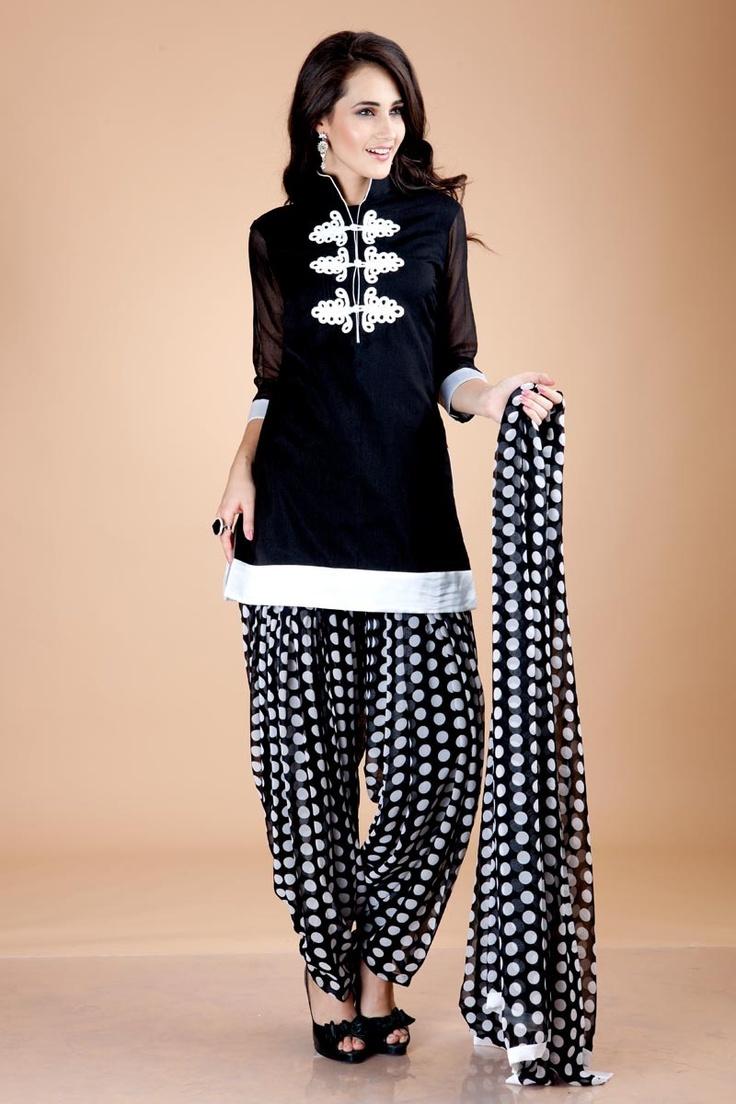 Modern dress casual - Patiala Punjabi Suits Modern Black And White