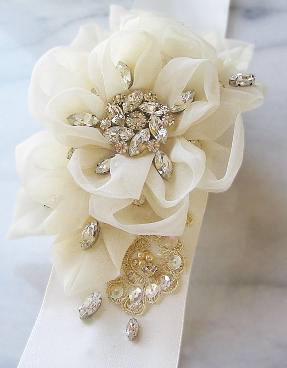 Ivory and Champagne Bridal Sash Wedding Belt by TheRedMagnolia
