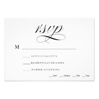 "A traditional and elegant black and white calligraphy script wedding rsvp card. ""Rsvp"" script on one side with reply by date, and guest name and attendance, meal choice on the other side. Delete the lines in the text field that you dont need. #rsvp #rsvp #card #black #and #white #black #and #white #rsvp #card #elegant #traditional #rsvp #card #traditional #rsvp #card #calligraphy #rsvp #card #elegant #rsvp #card #formal #wedding #rsvp #card #traditional #wedding #rsvp #card #wedding #rsvp…"
