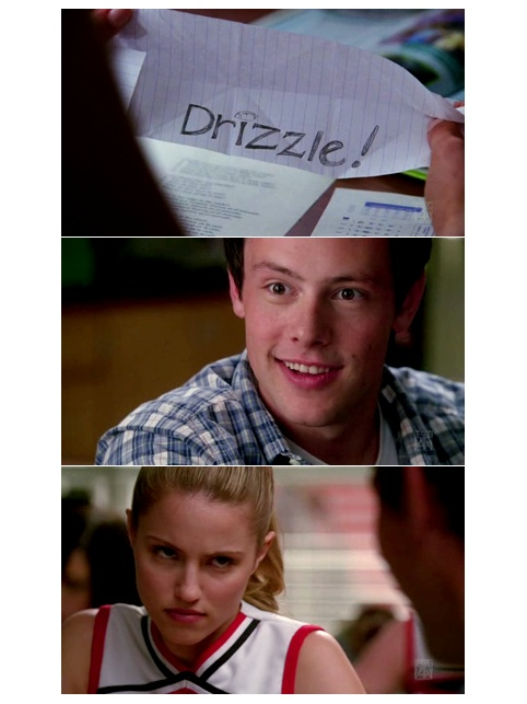 Haha, what Finn asks Quinn to call the baby. The look on Finn's face is so creepy! XD