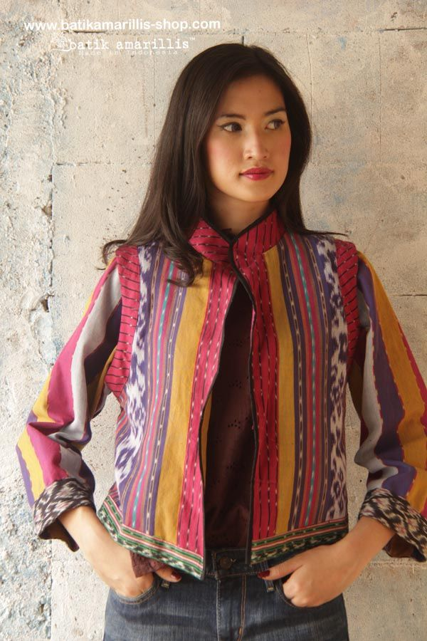 batik amarillis's torera jacket in beautiful ikats of Indonesia AVAILABLE at www.batikamarillis-shop.com it's a matador/bullfighter inspired jacket ..This is when the very feminine style meet masculine look of the tuxedo or the toreador silhoutte...