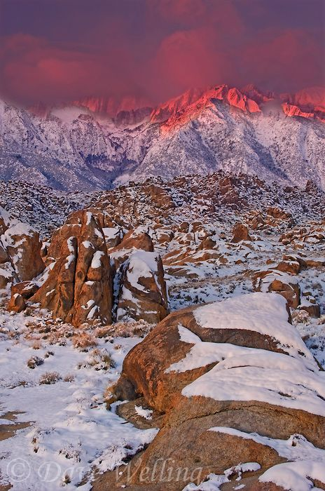 Winter in the Alabama Hills of the Eastern Sierra Nevada mountain range in Central California by Dave Welling: Alpenglow Winter, Winter Mornings, Eastern Sierra, Mornings Alabama, Art Prints, Hill Eastern, California Mi, Alabama Hill, Dave Well