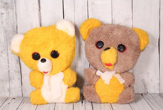 Yellow teddy bear - Brown teddy bear - Stuffed teddy bear - Vintage toy teddy bear - Old bear toy - Unused teddy bear - Plush bear