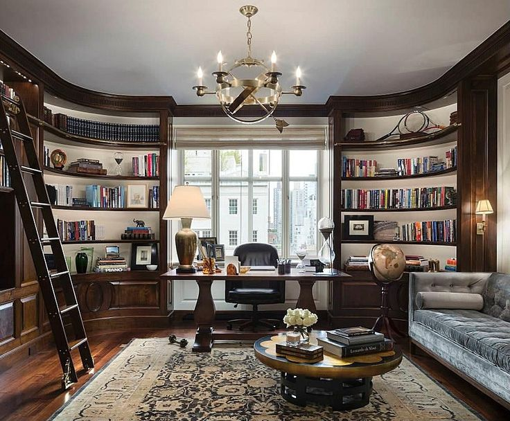 Traditional Home Office with Parker House Library Ladder Boston PH-BOS-495, Built-in bookshelf, Custom bookshelf, Chandelier