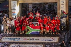 Imperial Toyota Dakar 2014 Rally Team Celebrate completing the Dakar 2014 Rally