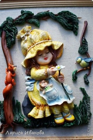 Картина панно рисунок Лепка Роспись Ромашковая девочка - повторюшка Ариадны…