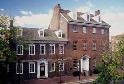 Gadsby's Tavern Museum, Old Town Alexandria.  George Washington, John Adams, Thomas Jefferson, James Madison, and James Monroe were patrons of the restaurant, still operating today.