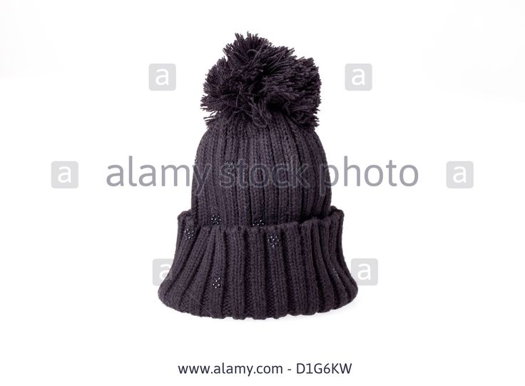 Download this stock image: Black wool hat isolated on white background. - D1G6KW from Alamy's library of millions of high resolution stock photos, illustrations and vectors.